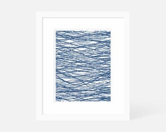 Blue Abstract Artwork - Minimalist Pen and Ink Drawing - Graphic Wall Art - Vertical Art Print - 5x7, 8x10, 11x14 Art - Bachelor Pad Art