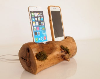 Unique iPhone dual dock - iPhone 6 / iPhone 6 plus charging station / iPhone 7 dock / iPhone 7 plus charging station - eco - evergreen dock