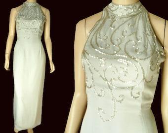 UNWORN 80s Backless Gown Dress Bust 39 Beaded Bodice Choke Neckline Pale Blue-Gray by Je Matadi