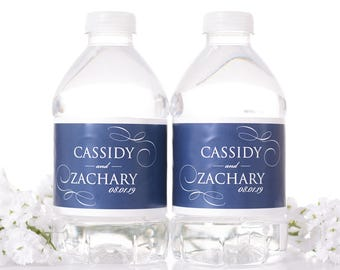 """Elegant Wedding Water Bottle Labels - Filigree Wedding Favors - Need a different quantity? Click on the """"choose total"""" tab to see pricing"""