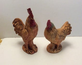 Vintage Rooster and Hen pair