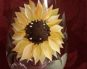 "Hand painted 17 ounce sunflower wine glass set of two.  Weddings, birthday, anniversary, Christmas or ""Just Because""."