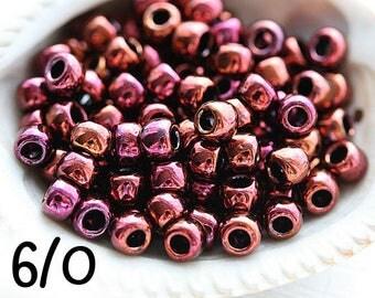 Maroon seed beads, TOHO Seed beads, size 6/0, Higher-Metallic Amethyst N 502, rocailles, metallic purple beads - 10g - S546