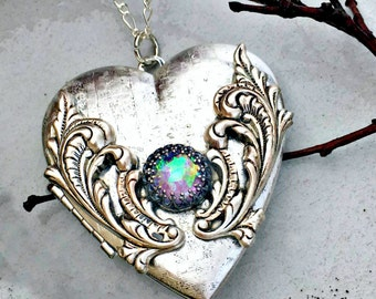 Moonlight Frosted Heart Locket