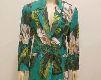 80's Tropical Floral Print Fitted Blazer Jacket
