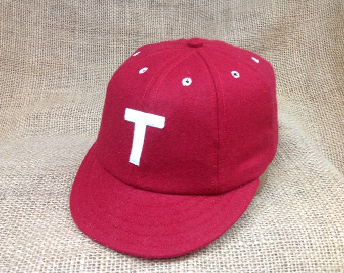 "Red wool flannel 8 panel cap, 1910 2"" visor,  Fitted to any size, any letter logo, cotton sweatband"