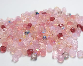 Czech Fire Polish Faceted Round Pink Mix Beads, 4mm Faceted Round Glass Czech Beads - 100 Beads