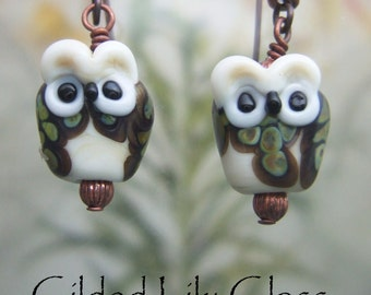 Baby Owlette Earrings,  Lampwork Glass Beads Handmade in North Carolina