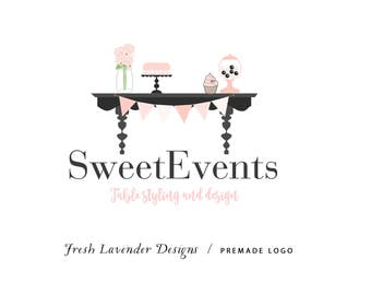 Custom Logo Design Premade Logo and Watermark for Photographers and Small Crafty Businesses Hand Drawn Candy Buffet Table Event Logo