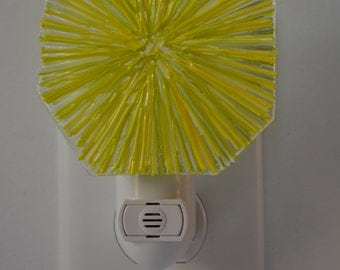 Yellow Sunburst Fused Glass Night Light