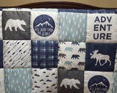 Custom Listing- Adventure Patchwork Fabric, Navy Moose, Navy Mountains, and Slate Navy Plaid Crib Bedding
