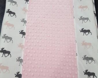 Moose Contour Changing Pad Cover - Moose, Light Pink, Gray
