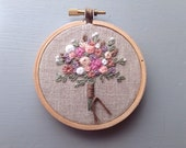 Wedding Gift for Bride, Personalized Gift, Cotton Anniversary Gift, Embroidery Hoop, Wedding Keepsake, Embroidered Bridal Bouquet, Hoop Art
