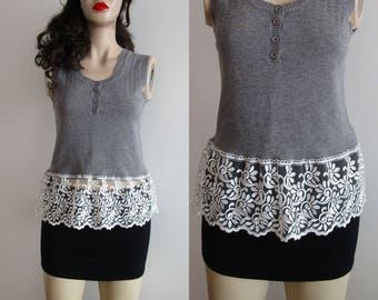 Upcycled Clothing for Women, Women Top, Lace Extender Top, Grey Chic Top, XS, S, Summer Top, Boho Top, Lace Top, Womens Blouse, Cream Top.