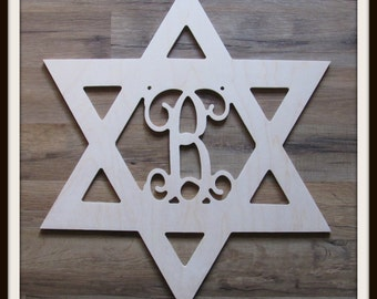 """Star of David Door Hanger with Letter - Unpainted Wood - 22"""" size - Family - Holiday - Hanukkah- Wooden Letter - Wall Hanging - Monogram"""