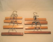 8 Wooden Pants or Skirts Clamp Hook Clothes Hangers Vintage 1960s Closet Organization Art Project Display