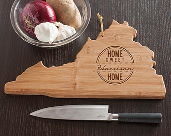 Virginia State Shaped Cutting Board, Engraved Virginia Shaped Cheese Board Home Sweet Home