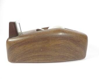 Vintage Faux Bois Metal Tape Dispenser - Wood Grain Scotch Tape Holder