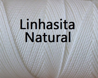 Linhasita Cor (Natural), Waxed Polyester Cord Durable Washable/ Spool/ Hilo