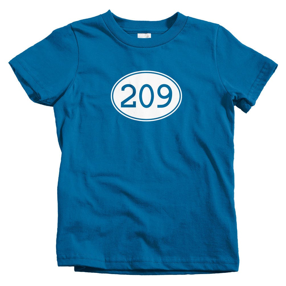 Kids area code 209 t shirt baby toddler and youth sizes for T shirt printing stockton ca