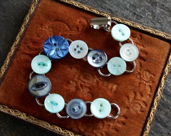 Antique button bracelet, Mother of Pearl, etched, vintage jewelry, blue, spring happy carved sweet child dyed charming