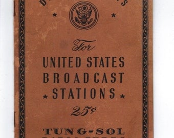 United States Broadcast Stations listings, booklet, call letters, location, tv and radio