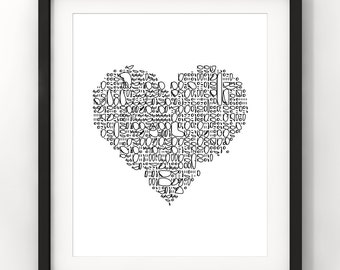 Downloadable Art, Heart, Abstract Art, Home Decor, Minimalist, Modern Art, Black and White, Printable Download, Digital Download
