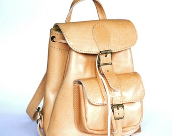 Small leather backpack  / Women natural (tan) leather backpack / Small leather pouch
