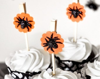 Black Spider Halloween Glitter Cupcake Toppers or Orange Gift Candy Favor Bag Clips or Birthday Party Decoration - Set of 12 - Wish Clips