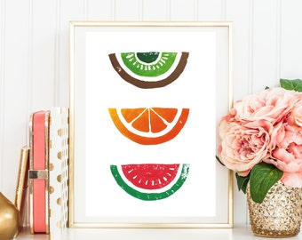 "Original Handmade Lino Cut Art Print - Signed & Mounted - 12x10"" - 'Trio of Fruits' - Orange Watermelon Kiwi Fruit - Vegan - Healthy"