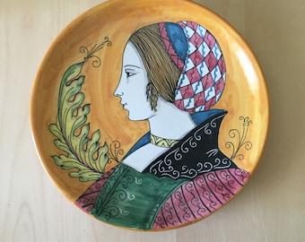 Vintage Italian Handpainted Plate Giacomini Orvieto