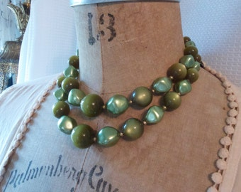 Chunky Multi Strand Green Choker Japan 60s Necklace Earthy Greens two strand Vintage necklace
