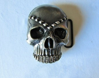 Belt Buckle Skull Rhinestone Teeth Washed Up Hollywood Brand Silver Large Hiphop Rocker