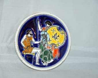 Round Greek Ceramic Coaster - Handmade by SMALTOTECHNIKI Greece