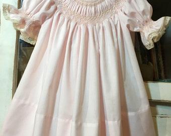 12 mo./Size 1 Baby Girl Smocked Bishop Dress