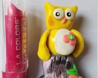 polymer clay owls, Fairy miniature, Mini owl, owl for mini fairy garden, handmade owl