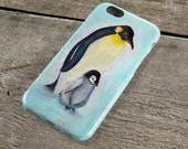 Penguins iPhone Case - Parent & Baby Penguins Pastel Drawing Unique iPhone Case for iP4, iP5/S/SE, iP5C, iP6/S, iP6+/S, iPod Touch 5
