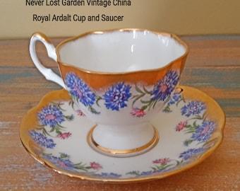 Tea Cup and Saucer Royal Ardalt Blue Cornflower Vintage