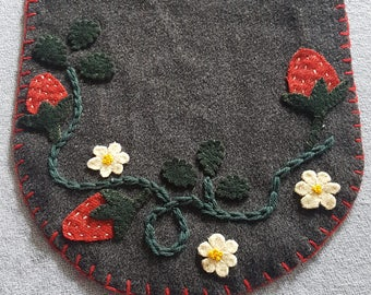 Hand stitched wool strawberry table runner