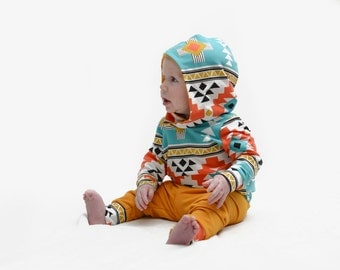 Aztec Baby Clothes - Baby Boy Outfit - Baby Hoodie Outfit - Unisex Baby Clothes - Modern Baby Clothes - Toddler Clothes - Toddler Outfit Boy