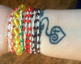 Broken Crayons:Versatile crocheted necklace / bracelet / belt / headband