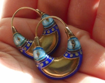 Nice Chinese Export Enameled sterling silver vermeil hoot earrings