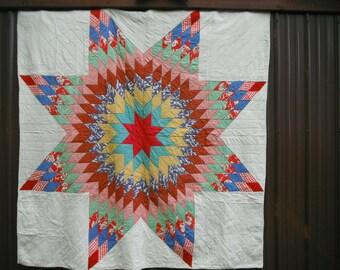 Vintage Farmhouse Quilt - Multi Color Star Pattern