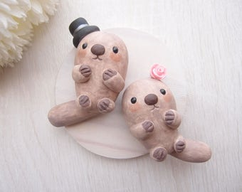 Custom Love Wedding Cake Toppers - Sea Otters with base