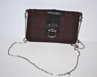 Vintage 90s dark brown purse wallet by Etienne Aigner chain crossbody designer bag wallet clutch