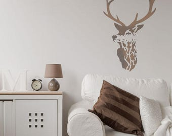 Highland Stag Stencil from The Stencil Studio. Home decor art and craft painting stencil, washable and reusable stencil
