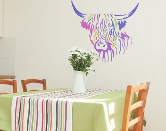 Hamish Highland Cow Stencil from The Stencil Studio. Reusable home decor & DIY stencils, simple to use. 10641