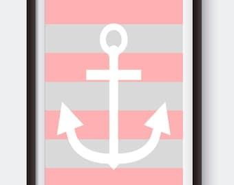Anchor Wall Art. Digital Print. Nautical Nursery. Coral & Gray Nursery. Girl Nursery Art. Nautical Decor. Nautical Baby Shower. Beach Decor