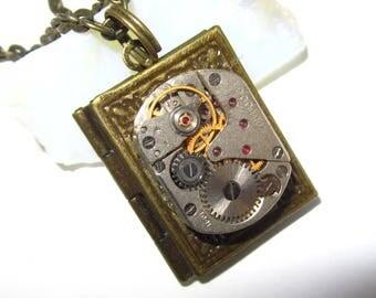 Steampunk book locket necklace  with watch  movement Brass Bronze locket Birthday gift ideas Photo locket necklace Picture locket necklace