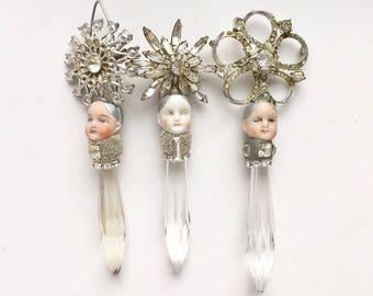 ONE rhinestone chandelier crystal pixie, mixed media assemblage art doll, doll head ornament, by Elizabeth Rosen